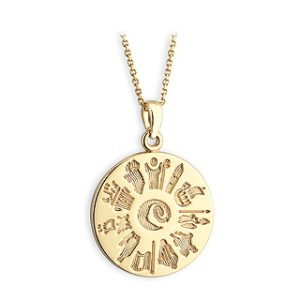 History Of Ireland 14 Carat Gold Disc Pendant s4924