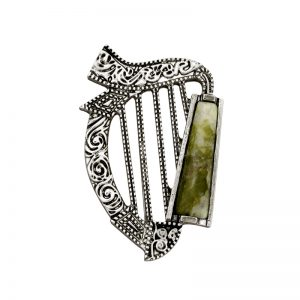 Connemara Marble Harp Brooch s1983