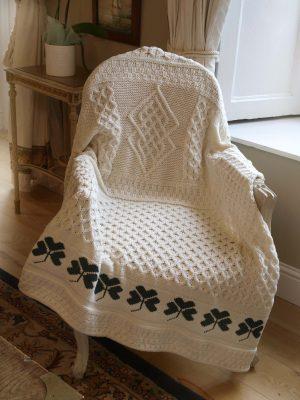 Traditional Irish Shamrock Blanket 100% Wool