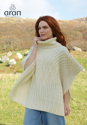 Aran Merino Wool Natural Shawl