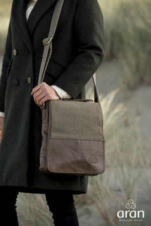 Irish Tweed Leather Bag by Aran Woollen Mills