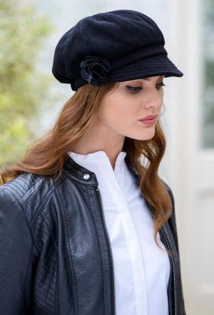 Ladies Black Newsboy Hat Mucros Weavers