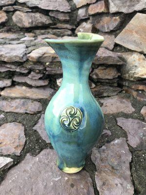 Colm De Ris Irish Pottery Green Large Vase i3