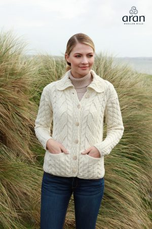 Aran Woollen Mills Cable Knit Super Soft Merino Wool Cardigan - b940 367