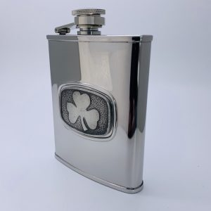 Mullingar Pewter Whiskey Flask Shamrock