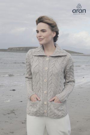 Aran Woollen Mills Cable Knit Super Soft Merino Oatmeal Cardigan - b940 371