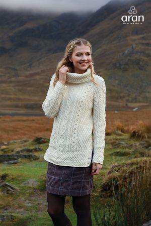 Aran Woollen Mills Roll Neck Ladies Sweater