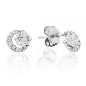 Waterford Crystal Silver Open Circle Stud Earrings WE223