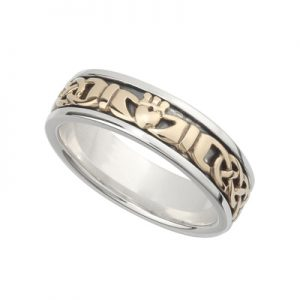 Solvar Ladies Silver & Gold Claddagh Ring s21007