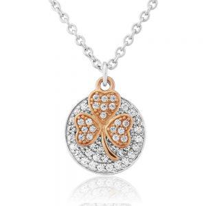 Waterford Crystal Sterling Silver Rose Gold Shamrock Pendant WP197