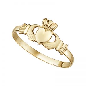 9k Yellow Gold Mini Claddagh Ring by Solvar s2237