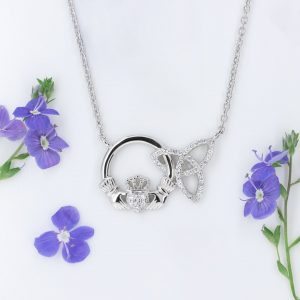 SILVER INTERLOCKING CLADDAGH TRINITY KNOT PENDANT
