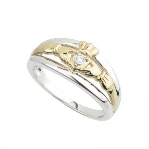 Solvar Sterling Silver Gold Diamond Claddagh Ring s2903