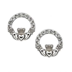 Claddagh Stud Earrings Adorned With Swarovski Crystal