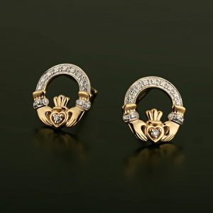 Solvar 14k Gold Diamond Celtic Claddagh Stud Earrings