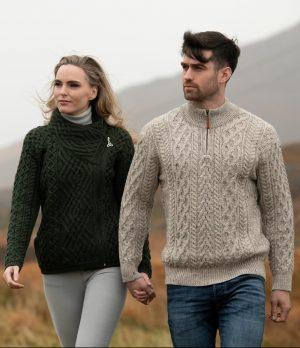 Aran Men's Oatmeal Merino Wool Half Zip Sweater