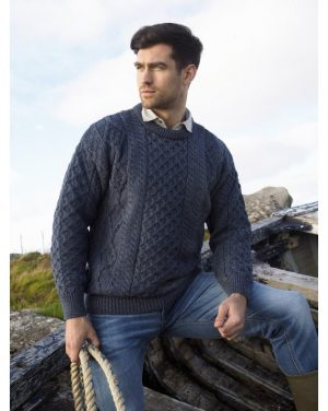 Inis Mor Aran Crew Neck Denim Sweater