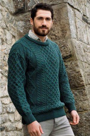 Inis Mor Aran Crew Neck Moss Sweater