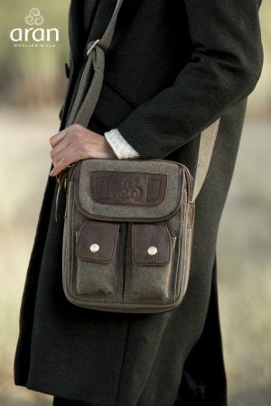 Irish Tweed Leather Double Pocket Bag