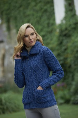 Aran Crafts Double Collar Zipper Wool Cardigan