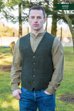 Green Irish Wool Tweed Waistcoat