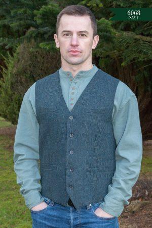 Tweed Navy Irish Waistcoat
