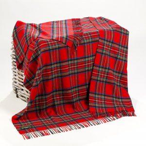 Lambswool Irish Red Tartan Blanket John Hanly 644