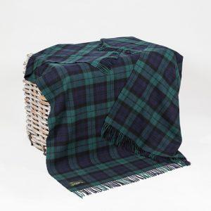 John Hanly Lambswool Tartan Black Watch Blanket 620