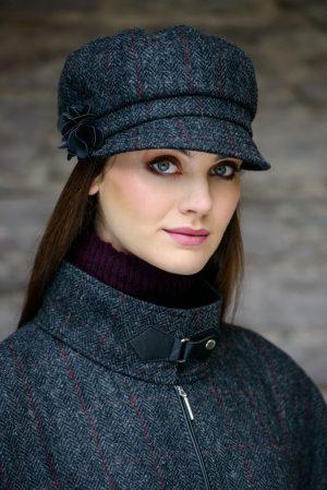 Ladies Tweed Hat Charcoal Mucros Newsboy