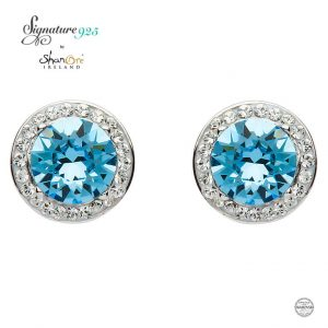 Aquamarine Swarovski Crystal Sterling Silver Stud Earrings