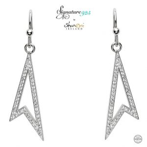 Drop Sterling Silver Earrings With Swarovski Crystal
