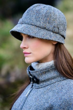 Mucros Grey Herringbone Flapper Hat