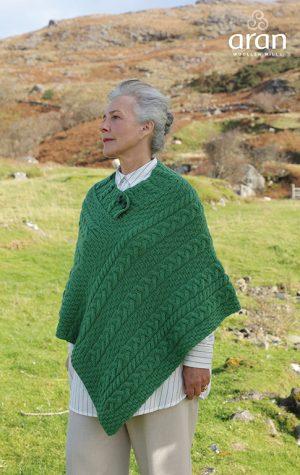 Green Cable Knit Aran Poncho