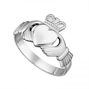 Solvar Irish Made Gents Sterling Silver claddagh Ring s2218