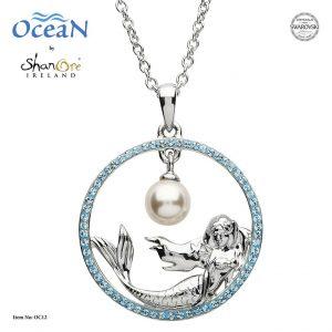 Shanore Mermaid Pearl Pendant With Aquamarine Swarovski Crystals - OC12