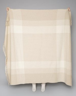 Foxford Bone White Large Block Throw Blanket 4037/b2