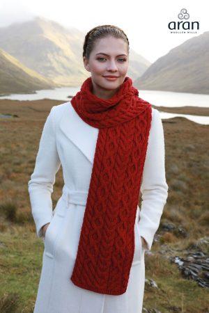 Chunky Red Merino Wool Aran Scarf