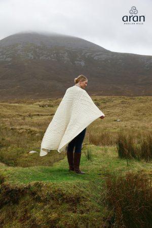 Aran Plaited Natural Irish Blanket