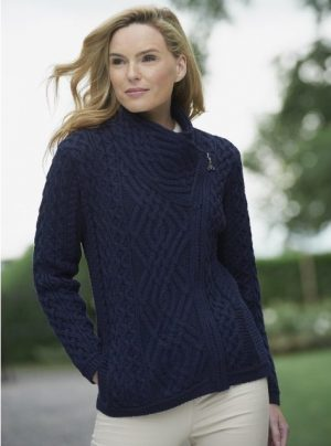 Ladies Navy Aran Irish Cable Knit Side Zip Jacket Z4630