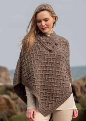 Aran Crafts Brown Wool Poncho N101