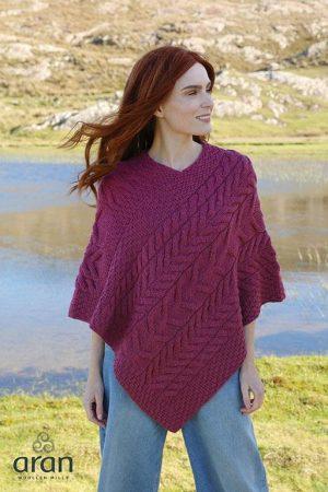 Aran Super Soft Merino Wool Poncho b676 432