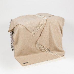 John Hanly Beige Blanket Throw Cashmere 1475