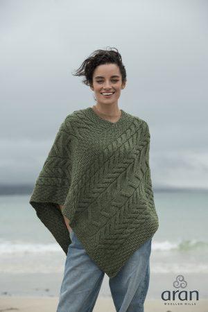 Aran Super Soft Merino Wool Green Poncho