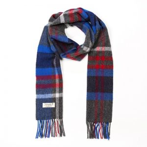John Hanly Charcoal Blue Red Check Scarf