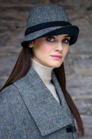 Mucros Gray Herringbone Clodagh Hat