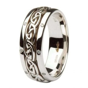Ladies Celtic Diamond Wedding Ring Comfort fit