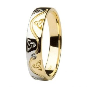 Gents Trinity Celtic Diamond Two Tone Wedding Band