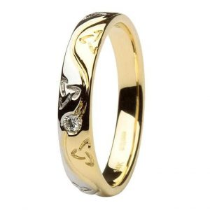 Celtic Two Tone Diamond Wedding Ring