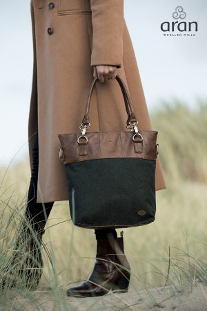 Aran Woollen Mills Tweed Leather Bag