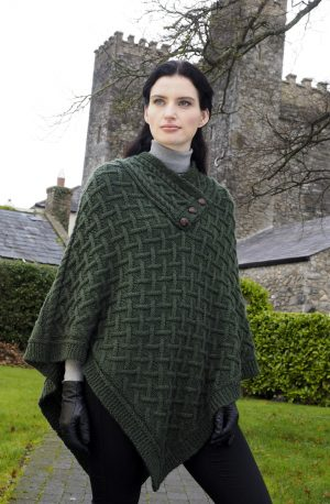 Nua Super Soft Green Merino Wool Aran Poncho